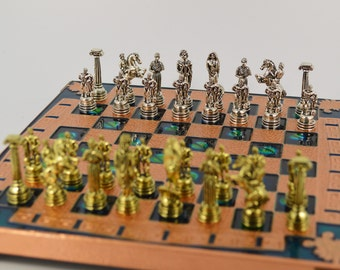 Hercules chess set (20X20) Copper chess board