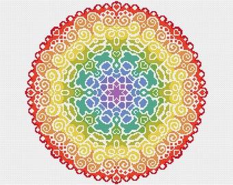 PATTERN Spectrum Mandala Cross Stitch Chart - Colourful Modern Cross Stitch - Rainbow of Colours