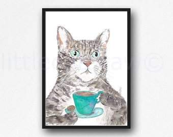 Cat Print Tabby With Her Cup Of Tea Print The Connoisseur Of Tea Cat Art Print Watercolor Painting Art Print Wall Art Kitchen Wall Decor