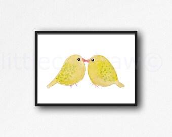 Bird Print Kissing Yellow Birds Print Yellow Watercolor Painting Print Watercolour Wall Art Watercolor