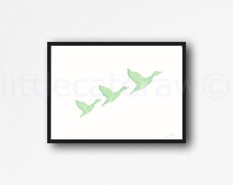 Mint Flying Ducks Watercolor Painting Art Print Watercolor Print Watercolour Wall Art Bird Watercolor