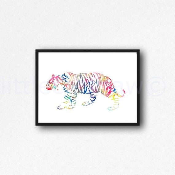 Abstract Geometric Tiger Colorful Animal Art By Littlecatdraw
