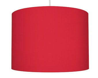 Red Linen Drum Lampshade, Small Lampshade 20cm - Large Lampshade 40cm or Custom Order