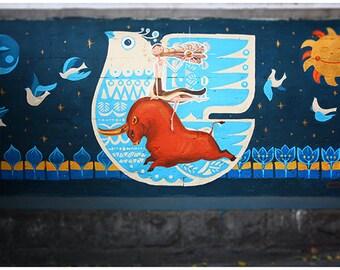 Graffiti wall art Street drawings Fine art photography Urban Art Fantasy Painting Colorful Blue Navy Nursery Room decor Moon and Sun Cartoon