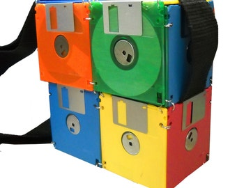 Handmade ecofriendly colorful floppy disc shoulderbag