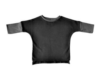 Baby Boy Clothes - Baby Boy Top, Baby Boy Shirt, Baby Boy Sweatshirt, Baby Top, Organic Baby Clothes, Organic Baby Boy - Coal Gray