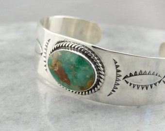 Southwestern Turquoise Cuff Bracelet with Engraved Details in Sterling Silver V77RME-P