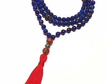 FREE SHIPPING Malas Japa Mala Yoga Mala Blue Agate Mala Meditation Mala Prayer Beads