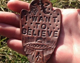 I want to believe hand tooled leather fob keychain