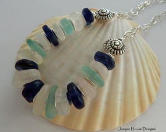 Blue Sails Sea Glass Look Chunky Summer Necklace