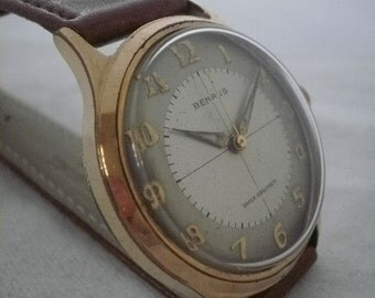 Vintage Retro Art Deco BENRUS Watch 17 Jewel - Gold Plated - Manual - Serviced
