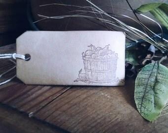 Basket 'o Pears Gift Tags, autumn theme, fruit basket, set of 12 gift tags
