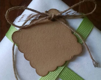 """Small Scalloped Square Tags, set of 25, measures 1 1/2"""" x 1 1/2""""."""