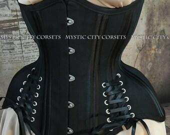 MCC-61 Black cotton underbust waist training tightlacing steel boned corset  MystiC City Corsets