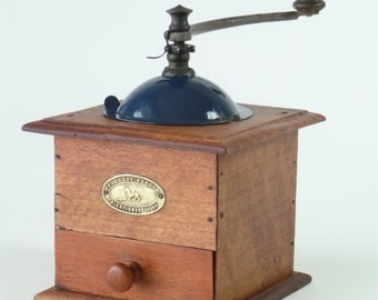 Antique French Peugeot Freres Coffee Grinder (blue)