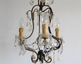Vintage French Re-Wired Crystal Chandelier