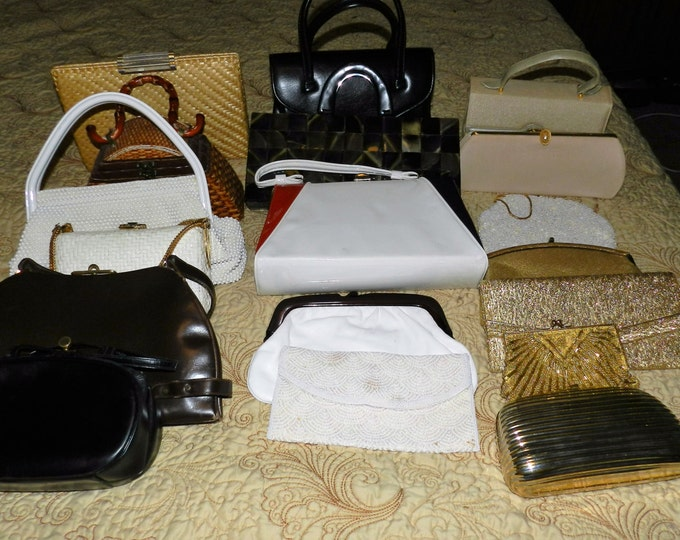 17 Handbags Purses Casual Formal Lot, Accessories Lot, 1950s to 1980s Fashion, Vintage Purses, 17 in Lot, Will go sale shortly, LOT