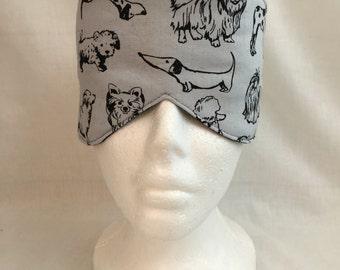 Gray Dogs Cotton Sleep Mask and Case Set, Eye Mask, Travel Mask