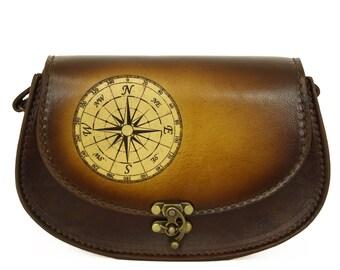Vintage Handmade Genuine Brown Leather Handbag with a Compass Laser Decoration