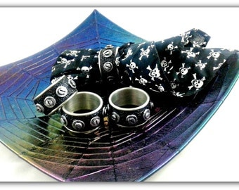 Industrial Napkin Rings - set of 4 stainless steel and polymer clay napkin rings