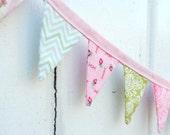 Mini Light Pink Green Pennant Banner Fabric Bunting
