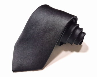 Men's SILK Solid Black Tie, 3-inch width in Satin finish