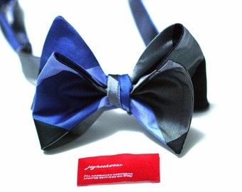 SELF TIED Bow Tie in Plaid with Black Cornflower Blue Charcoal Grey