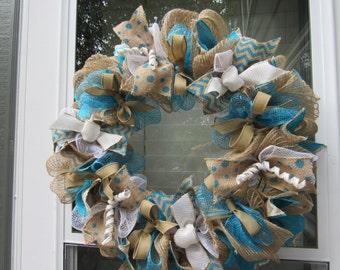 Burlap deco mesh wreath Teal/Turquoise, white and tan multicolored, multilayered wreath.  Multi season use deco mesh and ribbon wreath