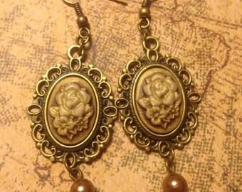 Dusty Roses Steampunk Earrings