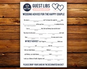 DIY Printable 5x7 Wedding Madlibs / Guestlibs Guestbook - Colors Customizable