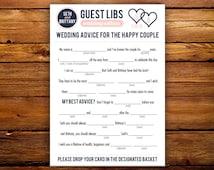 DIY Printable 5x7 Wedding Madlibs / Guestlibs Guestbook - Colors Customizable