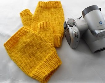 Yellow Mitts Adult Size Wool Texting Mitts Bright Yellow Fingerless Gloves Ready to Ship