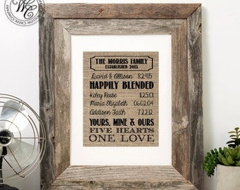 Blended family wedding gift | family name sign | established blended family Sign | Last Name Sign | family gift | Step Family | Remarriage