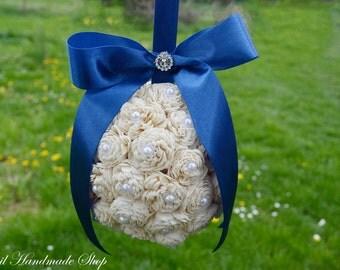 Kissing Ball, Sola Flower Kissing Ball, Dark Blue Pomander