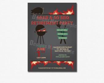 BBQ Theme Retirement Party Invitation - Custom Printable