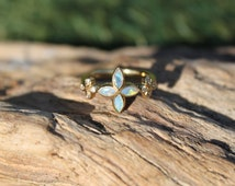 One of a Kind Handmade Opal and Diamond Flower ring fit for a mermaid