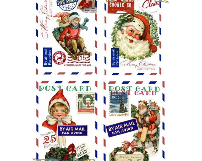 Digital Christmas Postcards, Digital Airmail Christmas Printable, Retro Christmas Digital Collage Sheet, Christmas Download, set of 4 cards