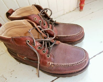 "Authentic, LL Bean, Cowhide and Bison Leather, Chukka Boot, ""Allagash"", Hand Sewn, Men's Size 8D, LIKE NEW!"