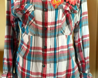 Upcycled flannel mens shirt embellished with destroyed t-shirts OOAK
