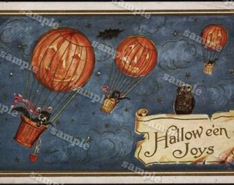 Rare JOL on colorful vintage 1912 HALLOWEEN Postcard hot air balloons