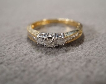 Vintage 10 K Yellow Gold 11 Round Inset Prong Set Diamond Stacker Style Wedding Engagement Band Ring, Size 6   **RL