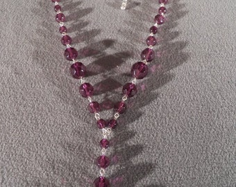 vintage silver tone Multi Round purple faceted glass bead lavaliere dangle Adjustable necklace chain        **RL