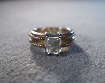 Vintage Sterling Silver Rectangle Blue Topaz Fancy Braided Twisted Band Ring, Size 5.5        **RL