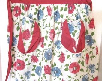 Vintage Floral Half Apron with 2 front pockets, Raspberry & Blue Floral