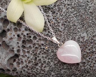Heart Pendant, Tiny Rose Quartz Heart Pendant or Add On Charm - Rose Quartz, Pink, Heart, Pendant, Charm, Heart Charm, Heart Pendant
