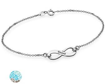 Engraved Infinity Bracelet - 0.925 Sterling Silver