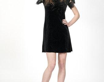 Black velvet lace detail dress