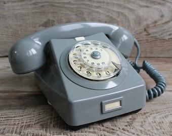 Vintage Hungary  rotary telephone / 1968 year / circle dial rotary phone / vintage phone / Old Dial Desk Phone