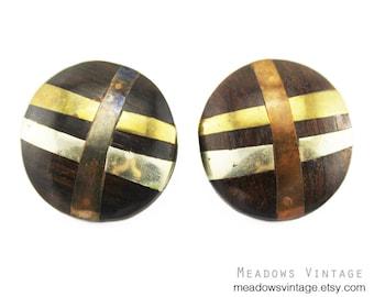 Vintage Wood Earrings, Large Inlaid Wood Earrings, Wood Circle Earrings, Mixed Metal Earrings