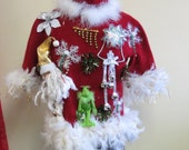 Darling Grinch  Glam Tacky Ugly Christmas Sweater Light up Color Changing bow White FooFoo Feather Boa  Size Small- Medium  Beaded Bells